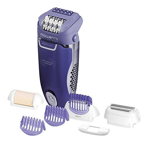 Rowenta Soft Extreme EP8710E0 - Depiladora con sistema anti dolor de 24 pinzas, cabezal exfoliante y afeitado, accesorio para axilas, cabezal de recorte para la zona del bikini