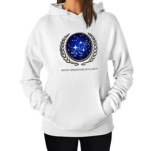 Sweat à Capuche Femme Manches Longues Hoodie Sweat Chaud Star Trek UFP Insignia - Mode Blanche Chemise pour Femme - Grand Cadeau pour Amis - Blanc - XX-Large