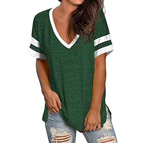 Camisetas de béisbol de Manga Corta de Verano para Mujer con Bolsillo Camisetas Jersey de algodón para Mujer Otoño Camisetas holgadas de Manga Corta Camisetas Manga a Rayas con Cuello en V Camiseta