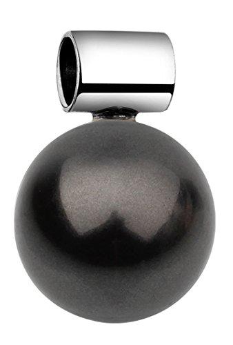 Nenalina Schmuck Perlen-Anhänger in 925 Sterling Silber mit 12 mm dunkler Glas Perle für Damen Kette oder Halskette, 846504-197