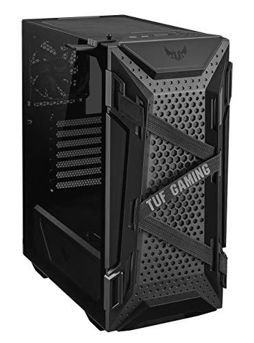 ASUS TUF Gaming GT301, case gaming ATX mid-tower con pannello laterale in vetro temperato, griglia frontale a nido d'ape, 3 ventole 120mm AURA, supporto cuffie e compatibilità radiatori fino a 360mm