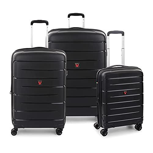 RONCATO Flight DLX Set 3 maletas rígidas ampliables 4 ruedas con TSA Negro