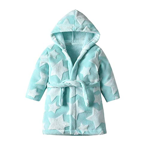 Frashing Kinder-Bademantel mit Kapuze Stern Drucken Fleece Robe Bathrobe Handtuch Morgenmantel für Jungen Kapuzen-Bademantel Nachthemd Pyjamas 1-6 Jahre