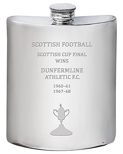 I LUV LTD 6oz Hip Flask for DUNFERMLINE ATHLETIC FC Scottish Cup Total Wins History Football Memorabilia Mens Birthday Personalised Gifts Pewter Whisky Accessories