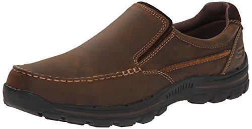 Skechers USA Men's Braver Rayland Slip-On Loafer,Dark Brown Leather,10.5 M US