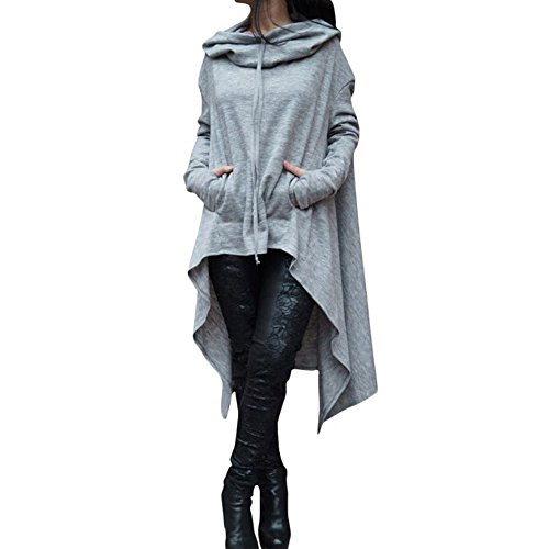 WUAI-Women Hooded Sweatshirt Long Sleeve Loose Casual Pullovers Irregular Hem Hoodie Long Tunic Dress(Grey,Large