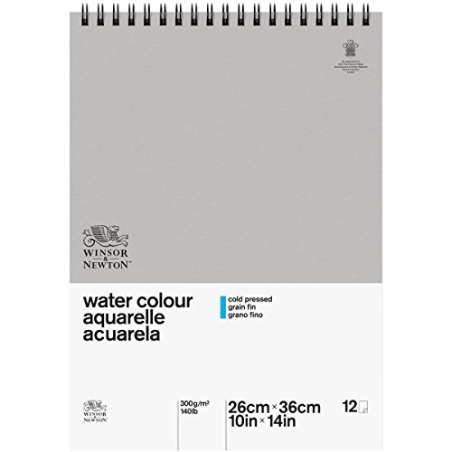 Winsor & Newton Papel para Acuarela Clásico de celulosa, Bloc Espiral, 300 g, 25,4 x 35,6 cm, algodón, Blanco Natural