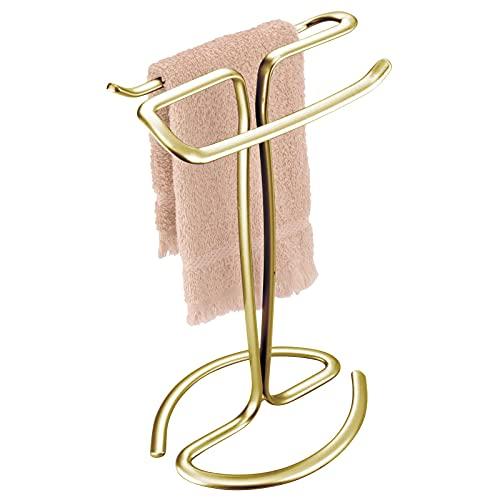 mDesign Elegante e Compatto portasciugamani – Accessori Bagno per Asciugamani, Piccole tovaglie ECC. – Porta Asciugamani da Bagno in Metallo con 2 Bracci – Ottone