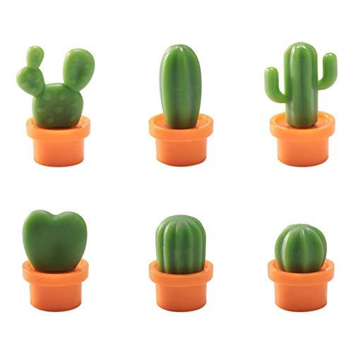 UEB 6pcs Calamite da Frigo a Forma di Cactus in Vaso Magneti per Lavagna e Frigorifero Calamite per Lavagna Magnetica Decorazione della Parete del Soggiorno (Vaso arancione)