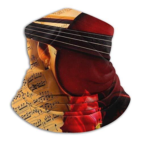 MissFortune Violin Notes Rose Beauty Music Half Face Shield Balaclava Neck Warmer Winter Ski Shields for Men Women