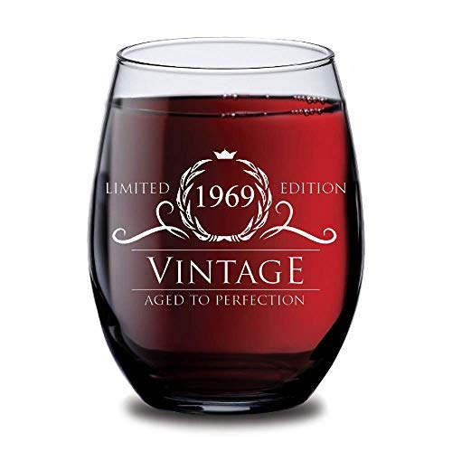 1969 50th Birthday Gifts For Women And Men Wine Glass