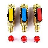 TWWSA 3 unids/Set HVAC Herramientas Medidores de 3 Colores R410A R22 Válvulas Adaptador de refrigerante AC Cargar mangueras de latón Válvulas de Bola Recta Manifold Adaptador de refrigerante
