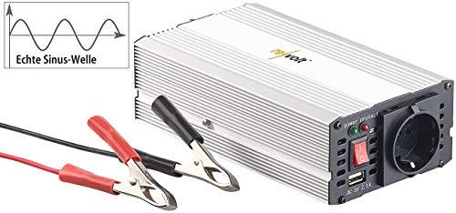 revolt Sinus Wechselrichter: Kfz-Sinus-Spannungswandler 12 Volt auf 230 Volt, USB-Ladeport, 300 W (Spannungsumwandler)