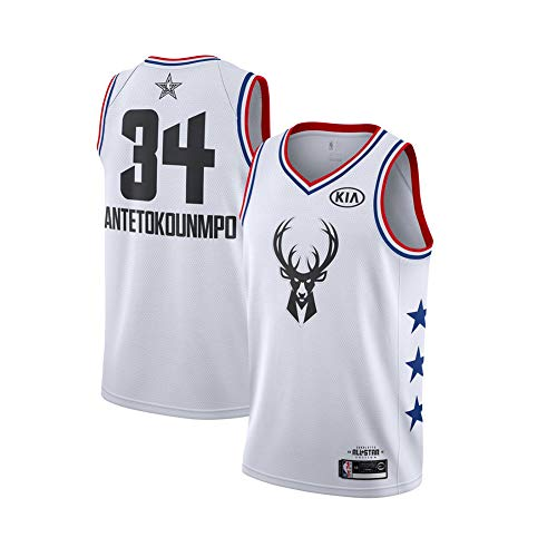Giannis Antetokounmpo Basketballtrikot für Kinder, Milwaukee Bucks 34# Icon Edition Swingman Trikot, Polyester Breathable Fan Basketballtrikot-White B-XXL(187~198CM)