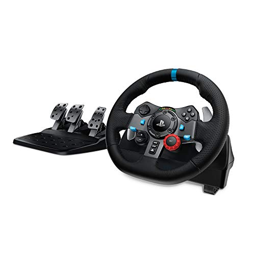 Logitech G29 Driving Force Racing Wheel Volante da Corsa con Pedali Regolabili, Ritorno di Forza Reale, Comandi ‎Cambio in Acciaio Inossidabile, Volante in Pelle, Spina GB, PS4/PS3/PC/Mac, Nero