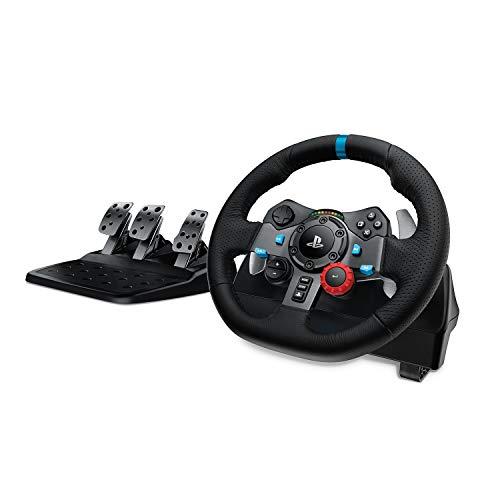 Logitech G29 Driving Force Volant de Course avec Pédales, Retour de Force Réaliste, Palettes au Volant en Acier Inoxydable, Volant en Cuir, Rotation du Volant à 900°, Prise EU, PS4/PS3/PC/Mac - Noir