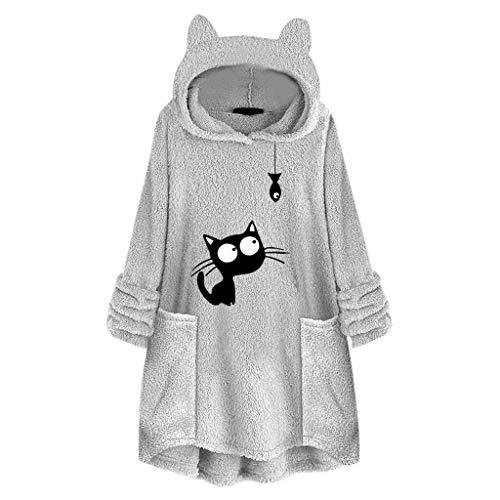 HebeTop Cute Cat Sweatshirt, Women Teen Girls Cotton Hoodie Sweater Tops with Pocket Gray