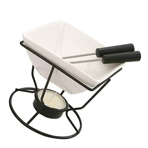 Yardwe Keramik Butterwärmer Set mit Teelicht Kerzen Mini Schokolade Schmelztiegel Keramik Kessel Topf mit Eisen Rack für Meeresfrüchte Käse Wachs Süßigkeiten Kerze Machen