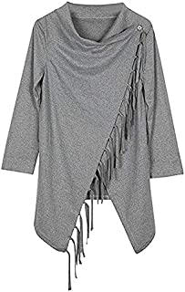 Grey Polyester Shirt Neck Cardigan & Poncho Top For Women