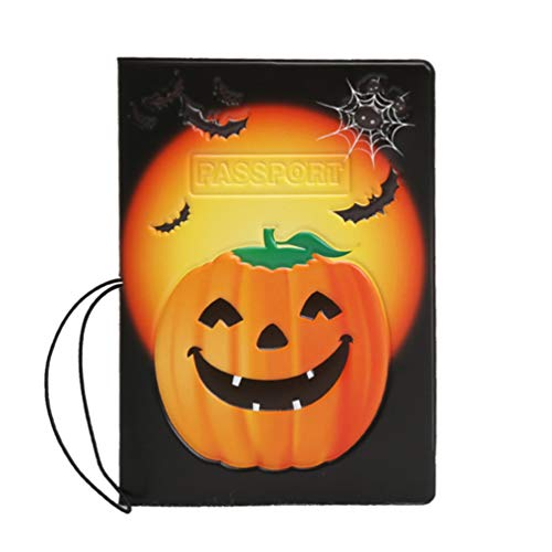 Capa para passaporte TOPBATHY com padrão de abóbora, capa para passaporte, organizador de documentos de viagem para cartão de passaporte
