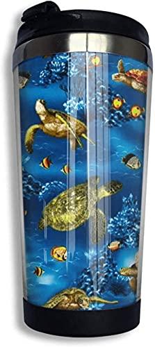 3D Novedad Abstracto Decoración divertida Batik Tortugas marinas Turquesa Taza de café de viaje Vaso 400 ml Taza de café aislada de acero inoxidable Botella de agua Taza de té