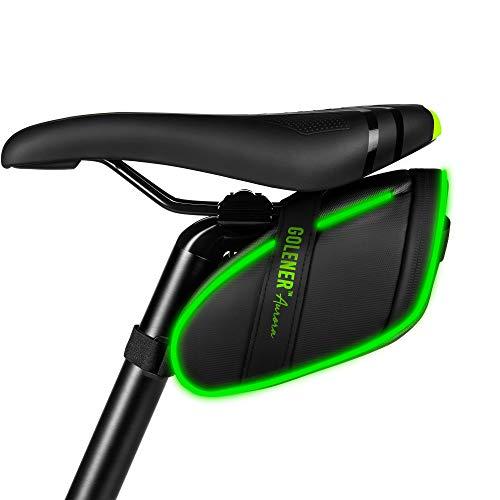Golener Fahrrad-Satteltasche, Fahrradtasche unter Dem Sitz mit LED-Lichtstreifen, Wasserdicht, Langlebig Aufbewahrungstasche für Fahrradzubehör, Strap-on Radfahren Keil Pack für Mountainbikes