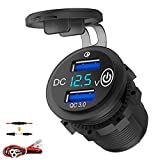 Quick Charge 3.0 12V USB Outlet, Dual USB Car Charger Socket with LED Voltmeter and Power Switch, Waterproof Cigarette Lighter Adapter for Car Marine Boat Golf Cart Truck Motorcycle ATV RV, etc.