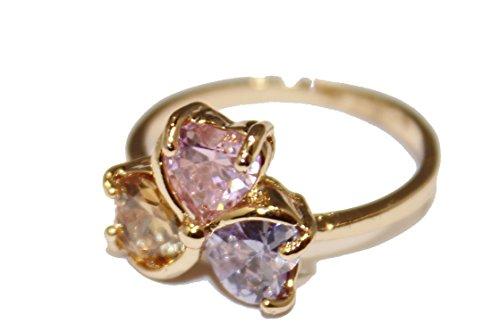 Diamantados of Fla Anillo de Flor con circonita cúbica Rosa, Morado y champán Chapado en Oro de 18 Quilates, tamaño 6