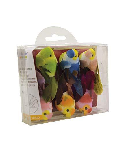 Artemio 13001021 Miniatur-Vögel, Papier, Mehrfarbig, 3,7 x 2,5 x 5,3 cm, 6 Stück