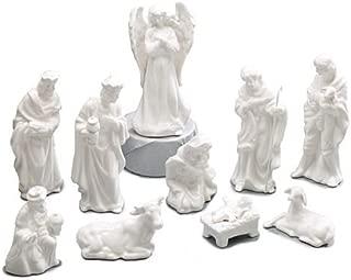 10 Piece White Porcelain Miniature Nativity Figurine Set Beautiful Christmas Decor