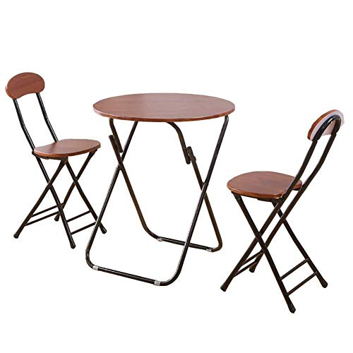 Soporte Portátil Silla Plegable Comedor Juego de 3 Brown jardín de té del café del Ordenador de Escritorio, 1 Mesa + 2 sillas (Size : 80x80x71cm)
