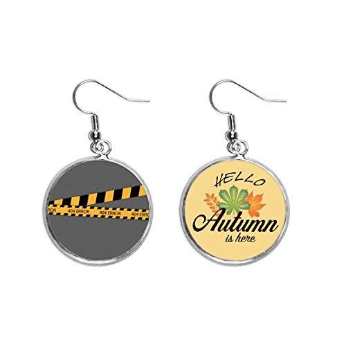 Schwarze und gelbe Streifen Fehler-Warnlinie Ohrringe Herbstblatt Schmuck