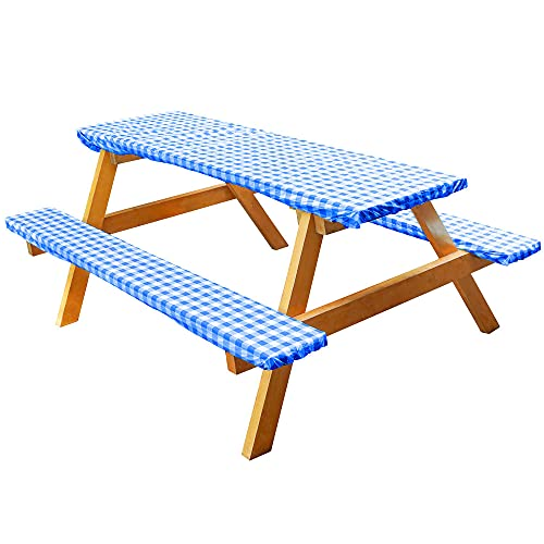 Vinyl Picnic Tablecloths and Bench Covers, Waterproof Picnic Table and Bench Seat Covers with Elastic Edges for Outdoor Patio Park, Blue Checkered Flannel Backed Lining, 28 x 72 Inch 3 Piece Set