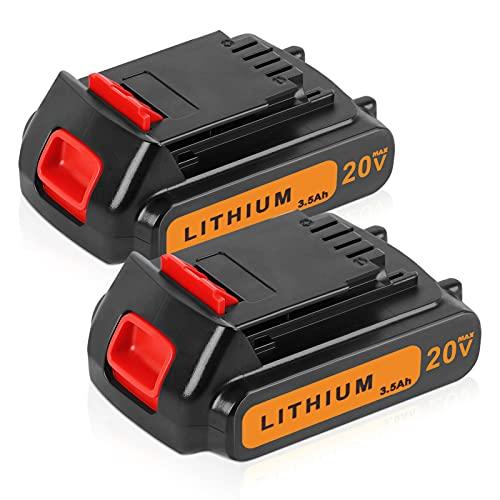 2Pack DSANKE 18V/20V 3.5Ah Li-ion BL2018 Replacement Battery for Black and Decker BL2018 BL2018-XJ BL1518 LBXR20 LBXR2020-OPE LB20 LBX20 GKC1825L GTC1850L20 Batteries