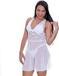 e18f521a4 Camisola Transparente em Tule e Renda com Bojo Larissa - MS1753