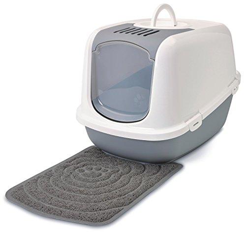 Savic Sparpaket Katzentoilette Nestor Jumbo Weiss-grau für große Katzenrassen inkl. Vorlegematte