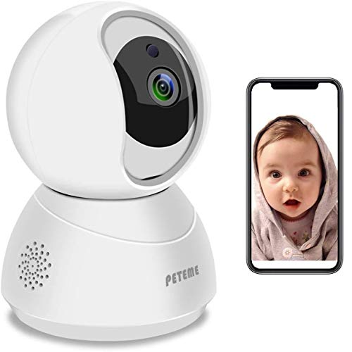 Baby Monitor, Peteme 1080P WiFi Baby Monitor with Camera and Audio 2-Way Audio with Night Vision Cloud Service Available Security Camera Compatible with iOS/Android