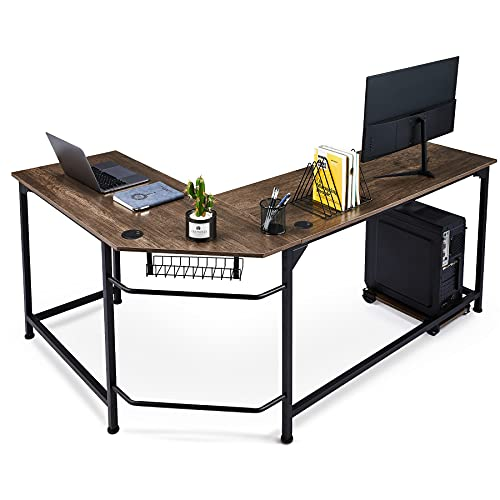 CO-Z L Shaped Computer Desk with Tower Stand, Corner Desk with Cable Management, Space-Saving 66x19 Home Office Desk w Underdesk Cable Tray and Grommets, Simple Modern Gaming Desk, Walnut