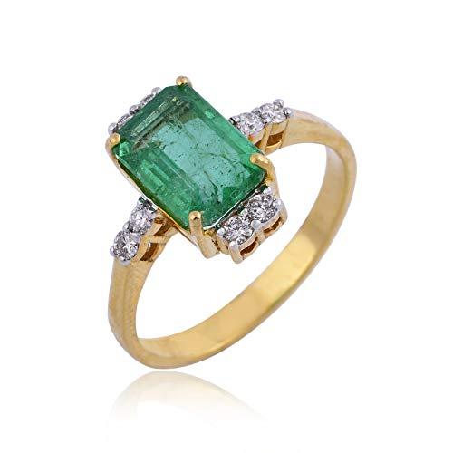 Spectrum Jewels - Anillo de piedras preciosas de esmeralda de 2,00 quilates, oro amarillo de 18 quilates, joyería fina para niñas y mujeres