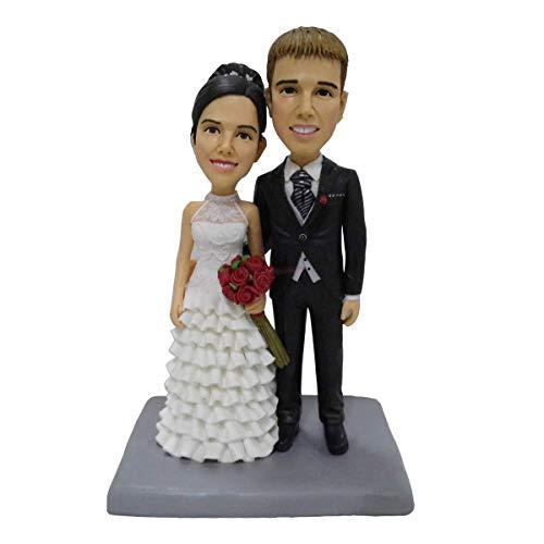Hochzeitstorte Topper Bräutigam hält Braut benutzerdefinierte Paar Bobblehead Mini-Paar Statue personalisierte Wackelkopf Spielzeug Turui Figuren