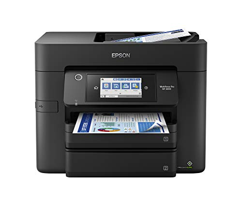 """Epson Workforce Pro WF-4830 Wireless All-in-One Printer with Auto 2-Sided Print, Copy, Scan and Fax, 50-Page ADF, 500-sheet Paper Capacity, and 4.3"""" Color Touchscreen, Works with Alexa, Black, Large"""