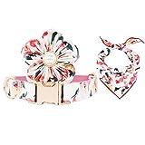 T.A.Bird Hunde- und Katzenhalsband mit Blume, rosa Blumenmuster, Hundehalsband, Mädchenhalsband, verstellbare Halsbänder für kleine mittelgroße und große Hunde, M