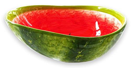 Lashuma Handgemachte Obstschale Melone, Servierschale aus Italienischer Keramik in Melonenoptik, Runde Salatschüssel 24 cm