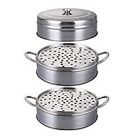 蒸し器 健康な食事のための鍋、家庭の台所の調理の調理器具のための食糧汽船の円形の普遍的なステンレス鋼の積み重ね可能な汽船,16cm,B