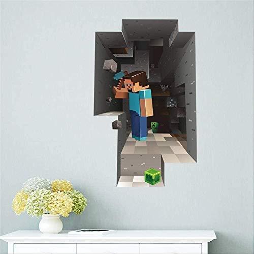 SHUBING Etiqueta de la pared 3D dibujos animados 3D animado popular mosaico etiqueta de la pared habitación de los niños mural cartel decoración del hogar etiqueta de la pared cartel mundo espacial