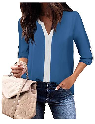 Frauen Hemden und Blusen Petites Plissee 3/4 Ärmel Shirts Stehkragen Gebogener Saum Atmungsaktiv Chiffon Tunika Oberteil Damen Blau,M