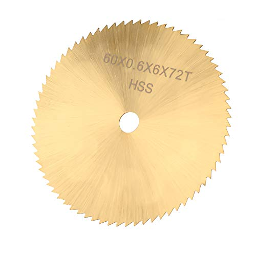 Hoja de sierra circular de 60 mm, disco de corte circular de acero de alta velocidad de 72 dientes Disco de corte pequeño para metal Madera Plástico(6.35mm)