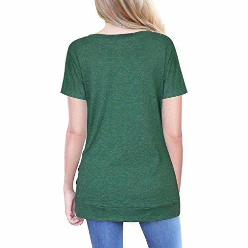 Toamen Women Solid Long Sleeve Botton Irregular Casual O Neck Tops T-Shirt, Plus Size, Newest (Short Sleeve Green, Size S/Bust 95cm)