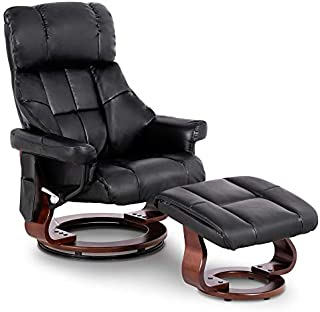Mcombo Recliner with Ottoman Reclining Chair with Vibration Massage, 360 Degree Swivel Wood Base, Faux Leather 9068 (Black)