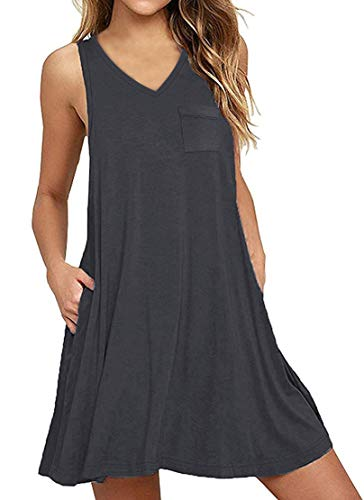 SENSERISE Womens Summer Beach Sleeveless Swing T-Shirt Dress Loose Tank Dress with Pockets(Dark Gray,L)